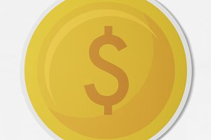 Dollar coin currency exchange (PSD)