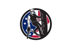 American Tree Surgeon USA Flag Icon