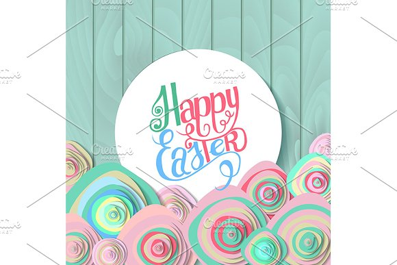 Happy Easter Lettering In Circle
