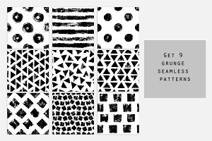 9 grunge seamless patterns, vector