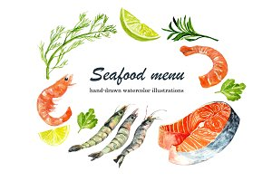 Watercolor image of seafood set