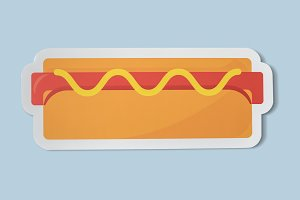Icon of a hot dog with mustard (PSD)