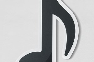 Musical note audio icon (PSD)