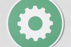 Green settings tools icon (PSD)