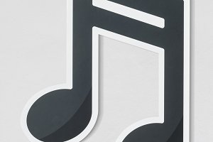 Musical note audio cut out icon(PSD