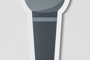 Paper craft of grey microphone (PSD)