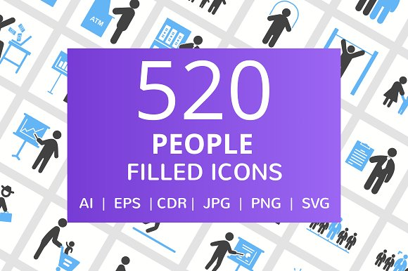 520 People Filled Blue Black Icons