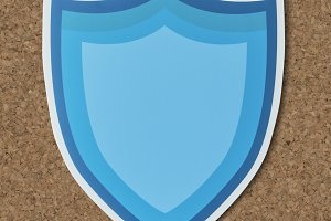 Blue protection shield icon (PSD)