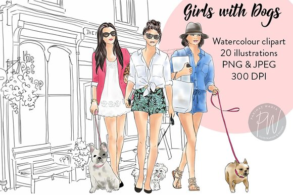 Girls With Dogs Clipart