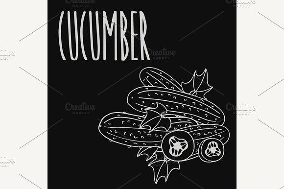 Chalkboard Cucumber Vegetable