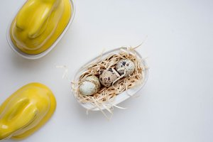 easter eggs with bunny jar