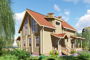 3D visualization. A wooden house by
