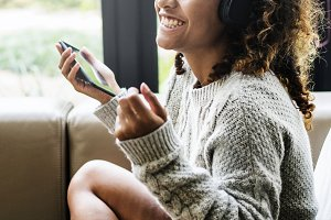 Woman enjoying with her music