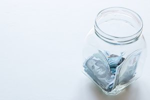 glass jar for donations