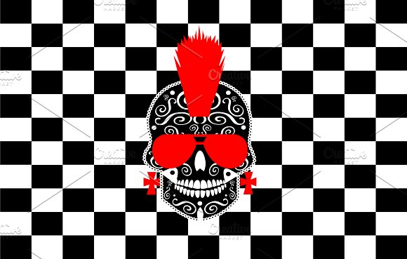 Punk Skull With Cubes Background