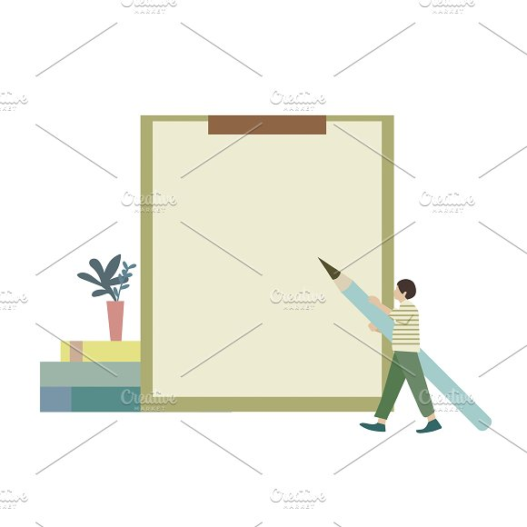 Illustration Of Man With Blank Paper