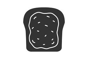 Toast with jam or butter glyph icon