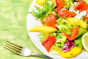 Fish salad with salmon and vegetable