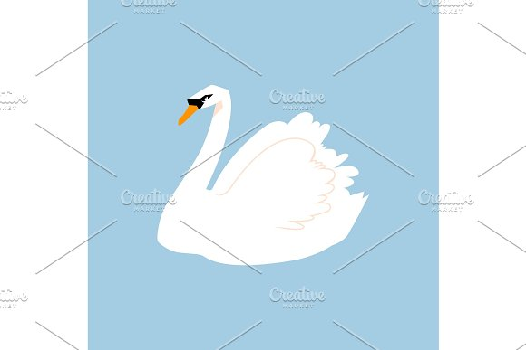White Bird Feathered In A Flat Style Isolated On A White Background