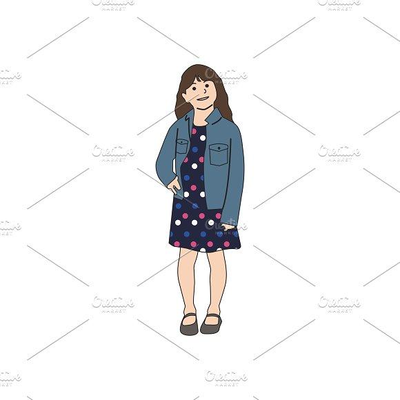 Illustration Of Little Girl Standing