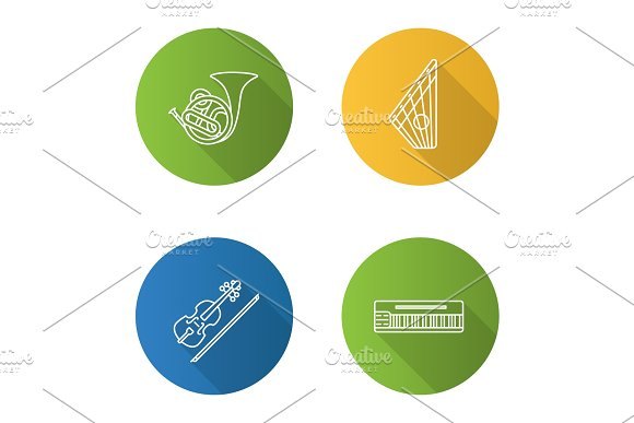 Musical Instruments Flat Linear Long Shadow Icons Set