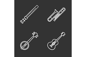 Musical instruments chalk icons set