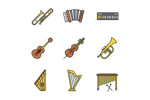 Musical instruments color icons set
