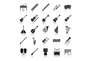 Musical instruments drop shadow black glyph icons set