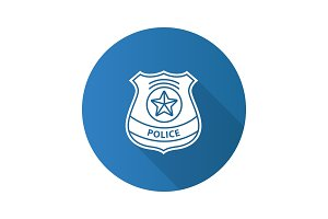 Police detective badge flat design long shadow glyph icon