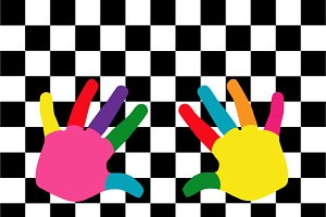 Human hands colorful background
