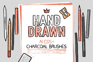 AI hand drawn charcoal brushes