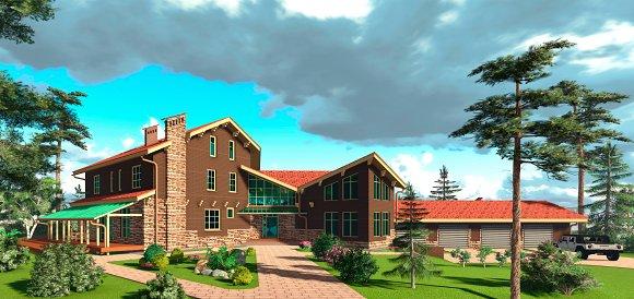 3D Render Brown House