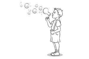 Child blowing bubbles coloring book vector