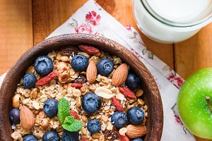 Muesli or granola with dried fruits