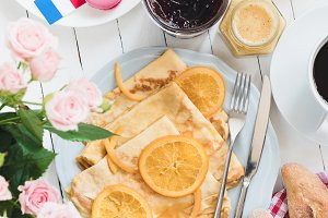 French breakfast Crepes Suzette
