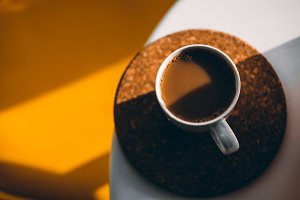 Coffee on white & orange background