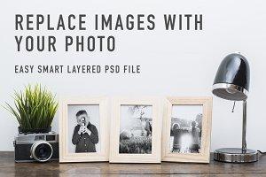 retro picture frame mockup