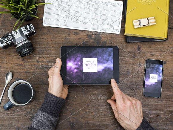 Tablet Web Design Office Desk Mockup