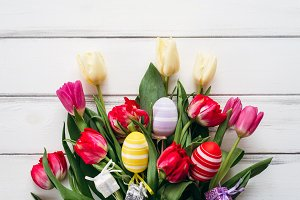 Tulips with eggs