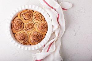 Cinnamon rolls in a baking dish