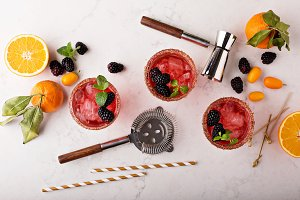 Blackberry citrus margaritas