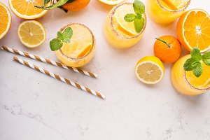 Orange and lemon margarita cocktail