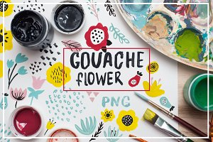 spring flowers. gouache design