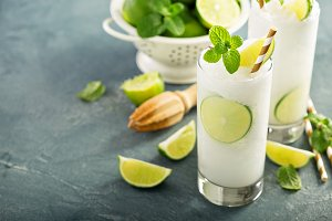 Refreshing lime frozen cooler or slushie