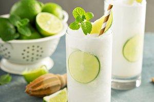 Refreshing lime frozen cooler or slushie