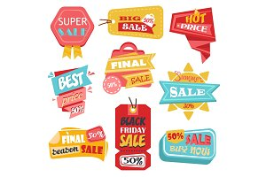 Discount tags or labels, stickers with price