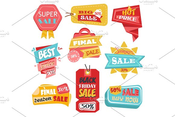 Discount Tags Or Labels Stickers With Price