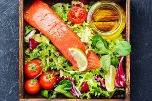 Salted salmon fillet with aromatic h