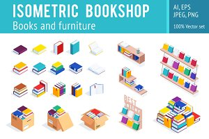 Isometric bookshop vector set.