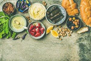 Middle Eastern meze starter platter